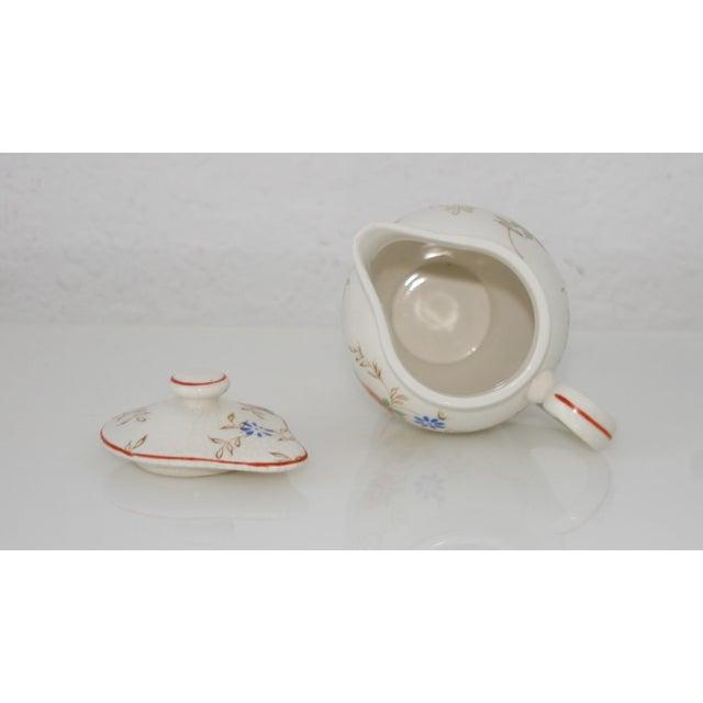 Ceramic Vintage Mid-Century Japan Ceramic Floral Design Lidded Syrup Pitcher For Sale - Image 7 of 9
