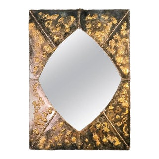 Textured Brutalist Elongated Diamond Shaped Mirror in the Manner of Paul Evans For Sale