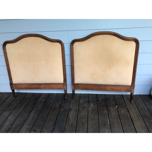 1950s French Twin Headboards Upholstered in Corded Gold Velvet - a Pair For Sale - Image 9 of 10