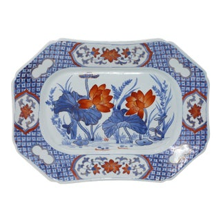 Vintage Light Blue Hand-Painted Lotus Ceramic Tray For Sale