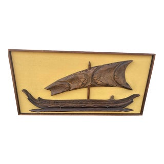 1960s Mid Century Witco Tiki Viking Ship Wall Sculpture For Sale