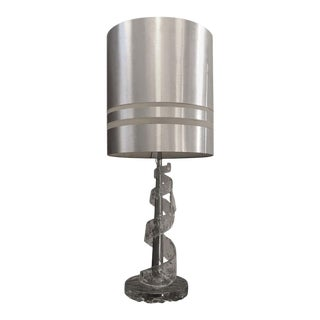 1970s Angelo Brotto Spiral Transparent Murano Glass Table Lamp For Sale
