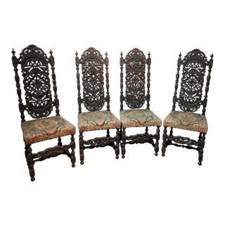 19th Century Vintage Ornate Carved Chairs- Set of 4 For Sale