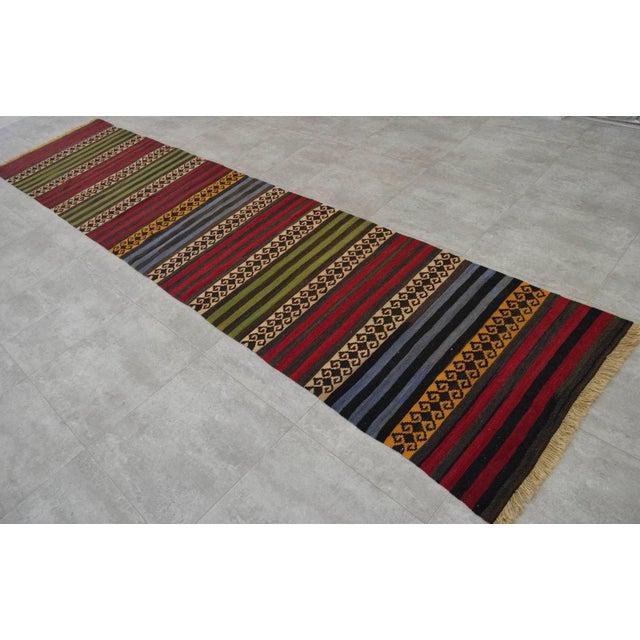 "Anatolian Wool Kilim Long Runner Rug - 2'7"" X 12'3"" - Image 4 of 9"