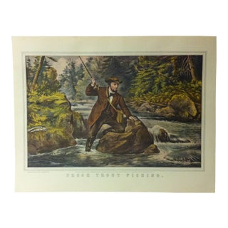 "Currier & Ives American Print, ""Brook Trout Fishing"" by Crown Publishers, Circa 1950 For Sale"