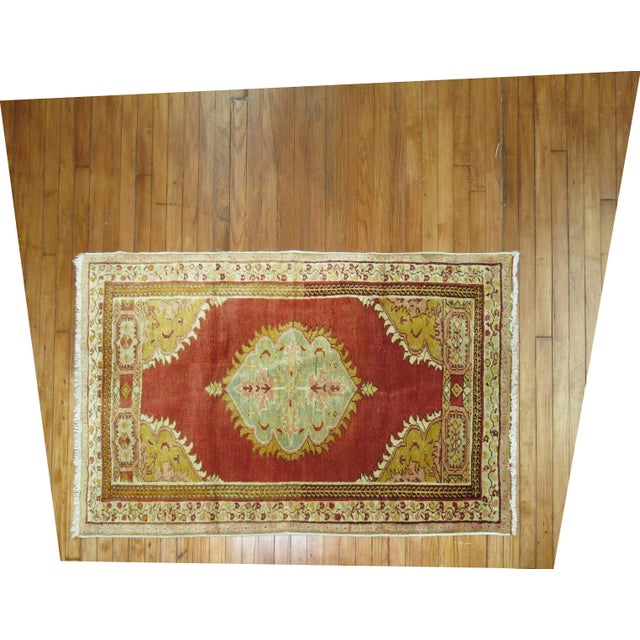 One of a kind handmade Turkish Oushak rug with classic central medallion and border. Great quality and personally...