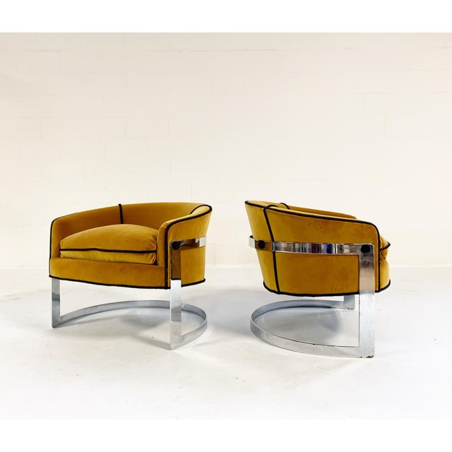 Mid Century Vintage Milo Baughman Velvet With Brazilian Cowhide Welting Lounge Chairs - a Pair For Sale - Image 13 of 13