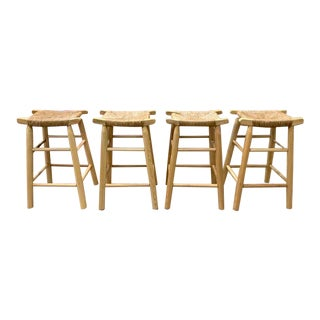 Set of Four - Danish Rope Seat Wood Benches, Bar Stools For Sale