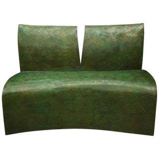 Modern Style Patinated Bronze Bench, Signed For Sale