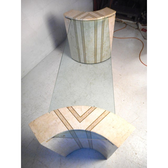 Maitland - Smith Vintage Modern Tessellated Marble and Glass Hall Table After Maitland-Smith For Sale - Image 4 of 12