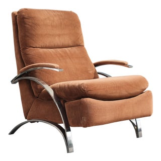 """Mid Century Modern Heavy Reclining Brown """"Barcalounger Longlife"""" Lounge Chair For Sale"""