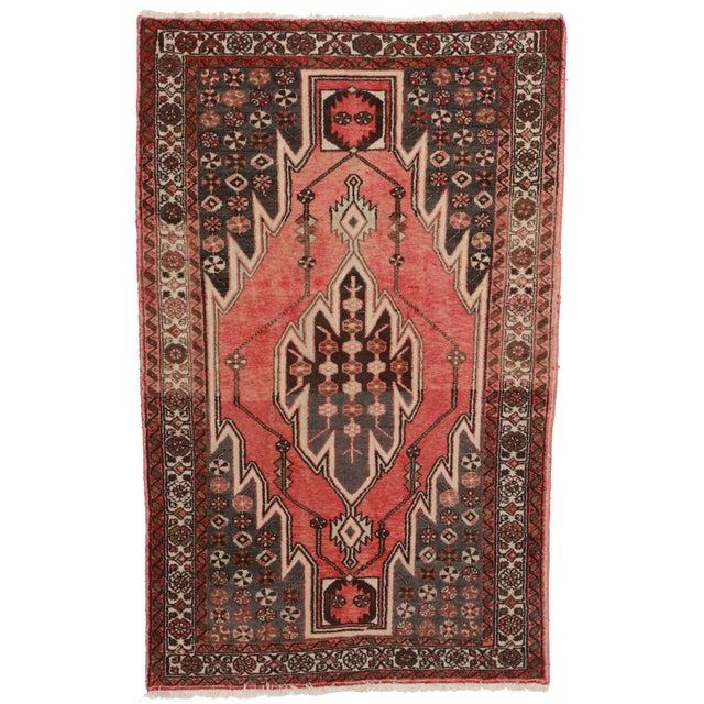 Vintage Hand-Knotted Wool Persian Hamedan Area Rug - Image 1 of 2