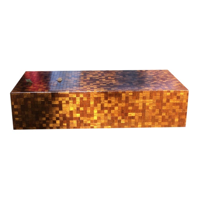 Mid-Century Modern Patchwork Wood Coffee Table - Image 1 of 11