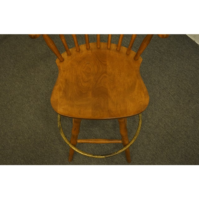Late 20th Century S Bent Bros. Gardener Solid Maple Swivel Bar Stool For Sale - Image 4 of 13