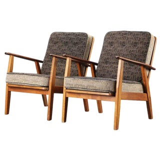 Pair of Danish Hans Wegner Style Midcentury Easy Chairs in Teak For Sale
