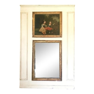 French Louis XV Style Painted and Gilt Trumeau Mirror For Sale