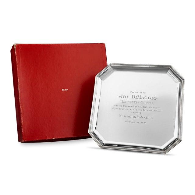Cartier Joe DiMaggio Silver Presentation Tray By Cartier For Sale - Image 4 of 4