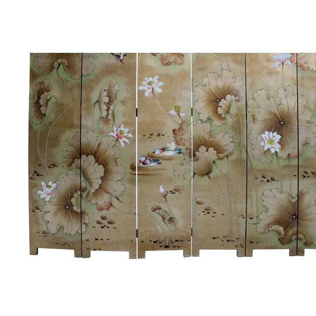 Chinese Golden Oriental Lotus Flower Birds Graphic Screen - Image 5 of 10
