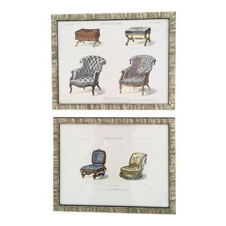 19th C. French Furniture Lithograph Prints - a Pair For Sale