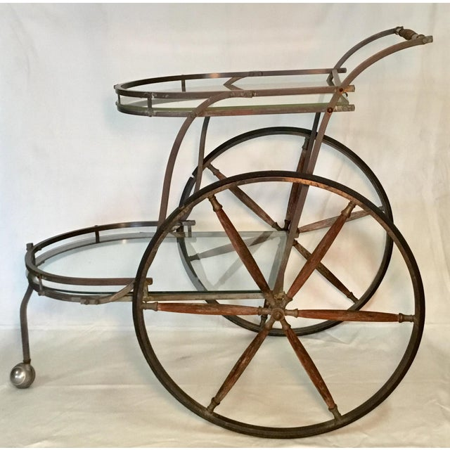 1950s 1950s Bronze and Glass Bar Cart With Wooden Spoked Wheels For Sale - Image 5 of 13