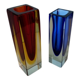 Mandruzzato Bleu/Black & Yellow/Red Sommerso Vases - a Pair For Sale