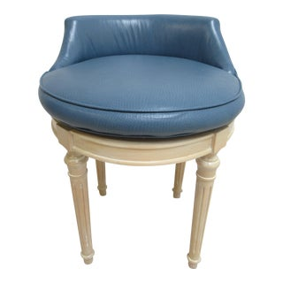 Custom French Regency Leather Vanity Stool