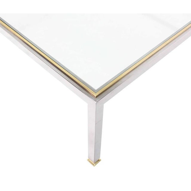 Mid-Century Modern Large Square Chrome and Brass Mid-Century Modern Coffee Table For Sale - Image 3 of 6