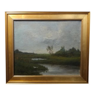 Anton Van Anrooy Dutch River Landscape Oil Painting For Sale