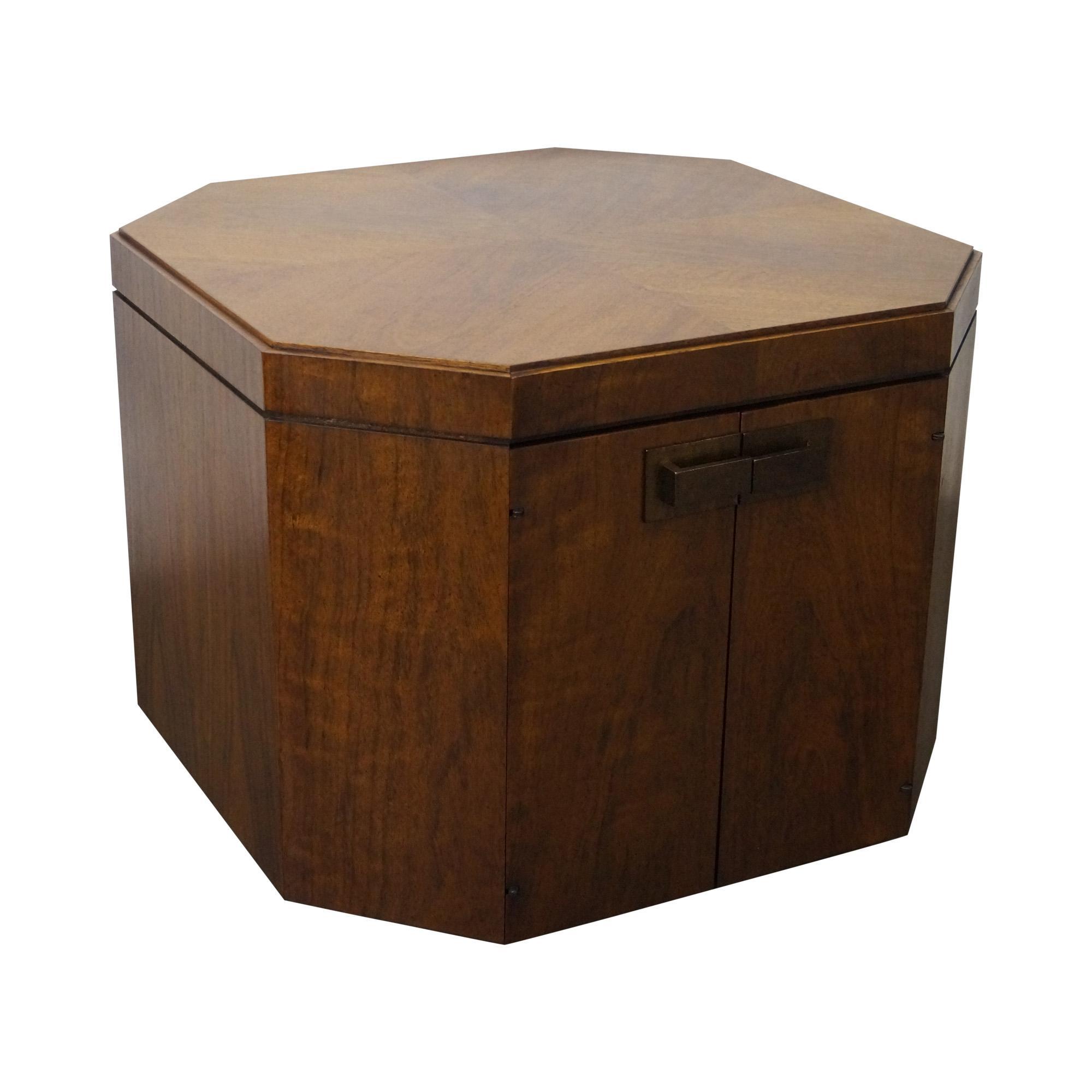 Mid Century Modern Walnut Storage Cube Table