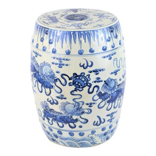 Chinoiserie Porcelain Blue and White Dancing Foo Dogs Garden Stool For Sale