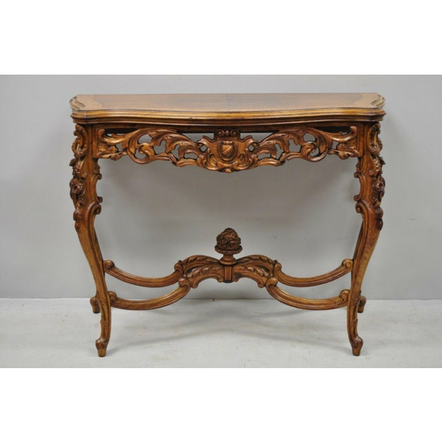 20th Century French Louis XV Carved Walnut Banded Console Table For Sale - Image 10 of 11