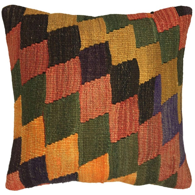 "Boho Chic Earthy Diamond Rug & Relic Kilim Pillow | 16"" For Sale - Image 3 of 3"
