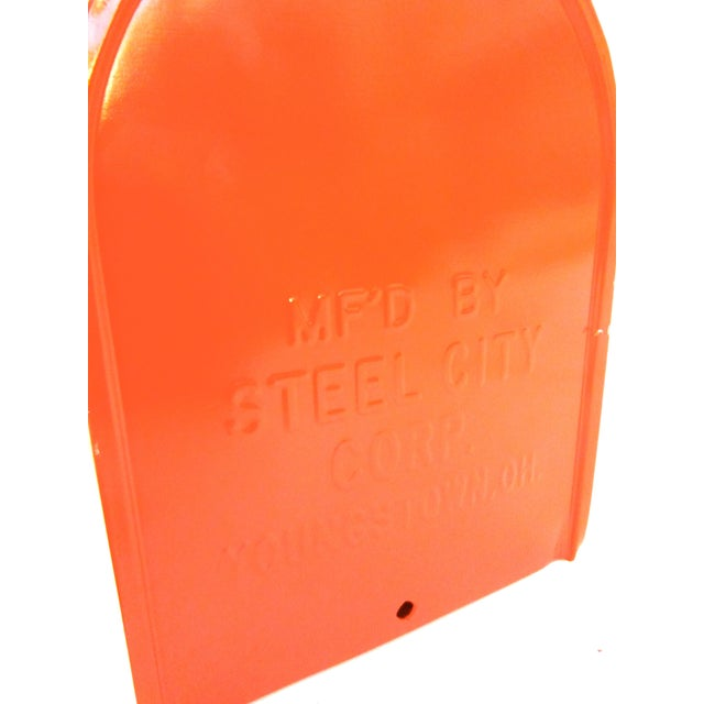 Vintage Industrial Fire Orange Metal Mailbox For Sale - Image 11 of 11