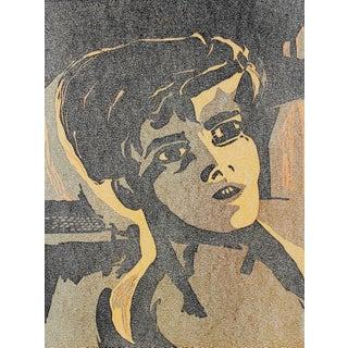 Mid Century Woodcut Portrait of a Boy For Sale