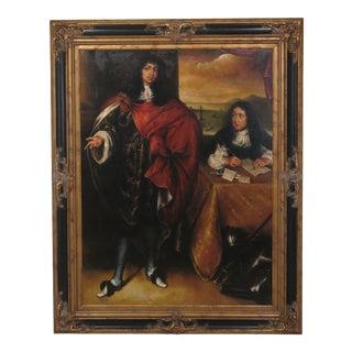 """Vintage """"Spanish King"""" Black & Gold Regency Framed Oil on Canvas For Sale"""