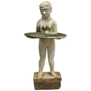 Art Deco Cast Stone Child Holding Birdbath Garden Ornament For Sale