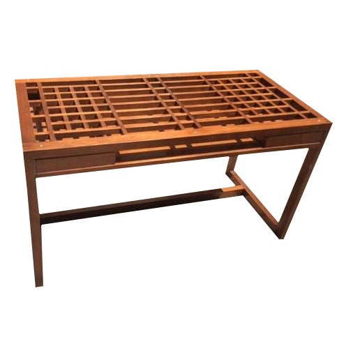 Mid Century Style Lattice Desk - Image 1 of 5