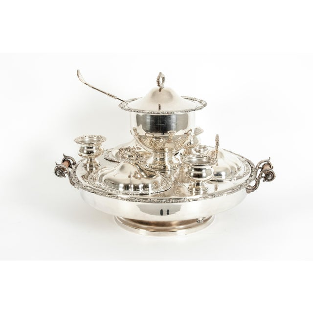 Very large Gorham silver plated revolving 19 piece covered dishes and tureen / center table super dish. The revolving...
