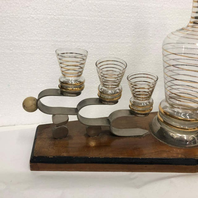 Stylish Italian liquor set, wood, silver plate and glasses are in very good conditions.