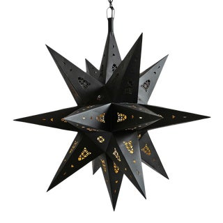Black Tin Star Lantern Large For Sale
