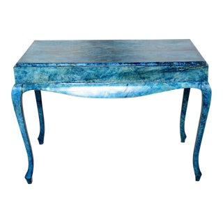 Blue Goatskin Console Table For Sale