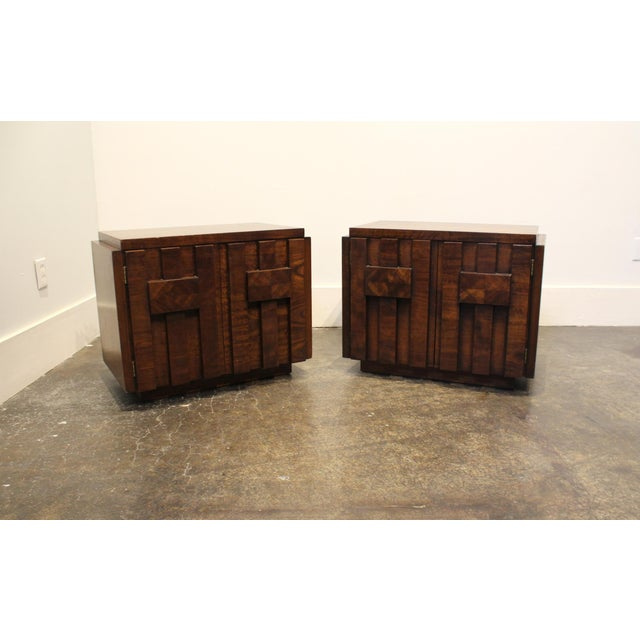 Brown Pair of 1970s Mid-Century Modern Brutalist Nightstands by Lane For Sale - Image 8 of 8