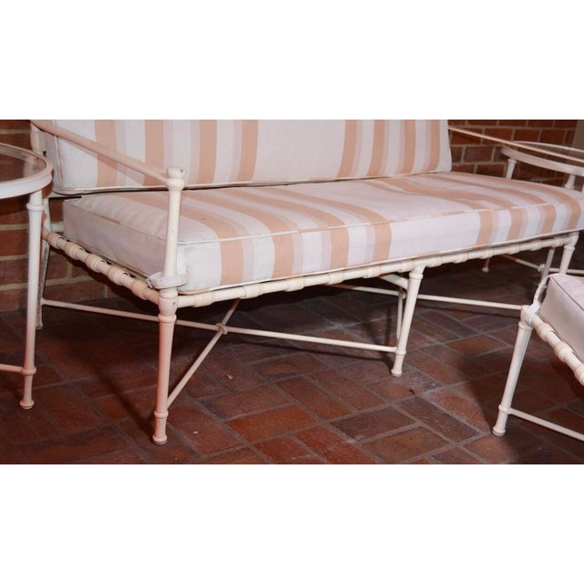 Metal Brown Jordan Cast Metal Outdoor Settee, Ottoman & Accent Tables For Sale - Image 7 of 12