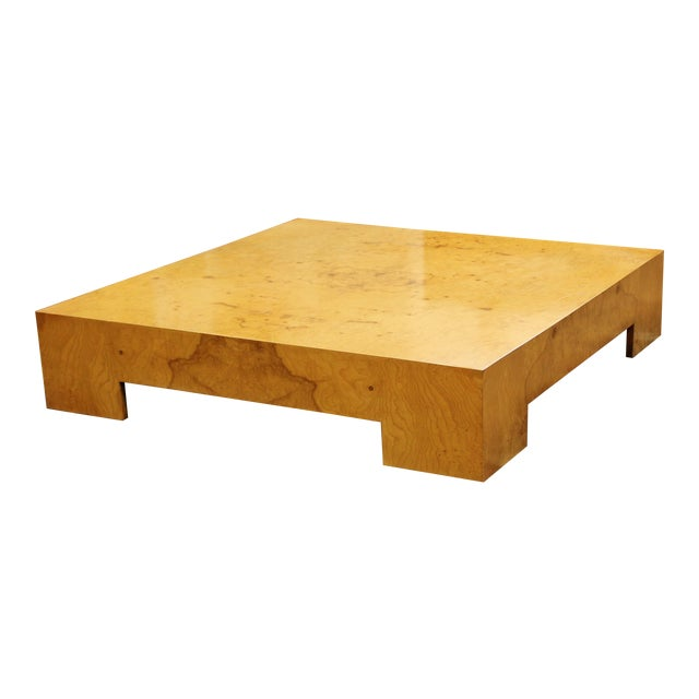 Mid Century Modern Milo Baughman Large Low Square Burl Wood Coffee Table 1970s For Sale