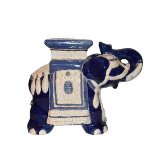 1960s Vintage Blue and White Ceramic Elephant Garden Stool Trunk Up Good Luck For Sale