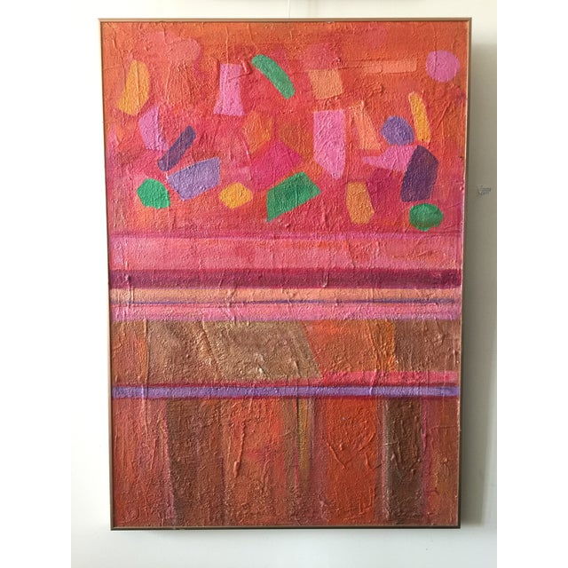 Large Mid Century Modern Abstract Geometric Painting For Sale - Image 4 of 4