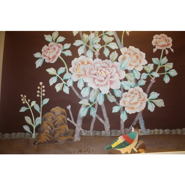 Hand Painted and Embroidered Mural on Paper Backed Silk For Sale - Image 9 of 13