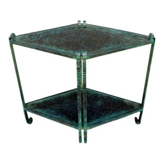 1930s French Deco Hammered Wrought Iron Table For Sale