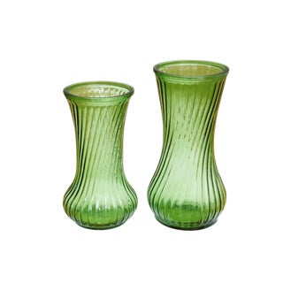 Green Flower Vases, a Pair For Sale