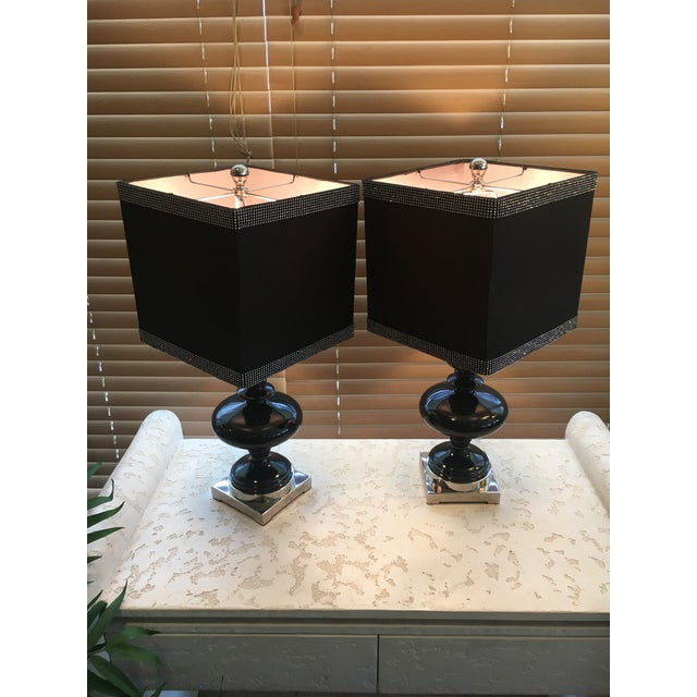 Black Ceramic Table Lamps - A Pair - Image 2 of 4
